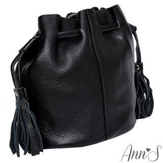 【Ann'S】有點帥氣時-真牛皮mini流蘇水桶包(黑)