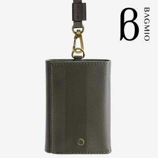 【BAGMIO】三摺式牛皮鈔票卡片夾(橄欖綠附織帶)