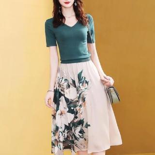 【FQ時尚天后】墨綠針織上衣米白綠玫瑰裙套裝(S-2XL)