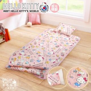 【享夢城堡】兒童卡通涼被童枕睡墊三件組(HELLO KITTY 世界-粉)