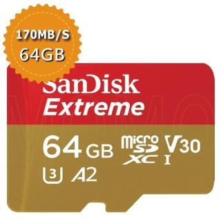 【SanDisk 晟碟】Extreme microSDXC  V30 A2 64GB  160MB/s記憶卡(平行輸入)