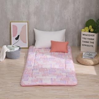 【LAMINA】方格漩渦100%純棉日式床墊5cm-粉(單人)