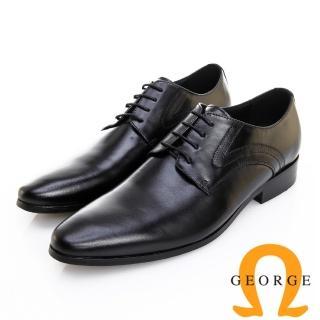 【GEORGE 喬治皮鞋】職人系列 素面漸層刷色繫帶紳士鞋 -黑