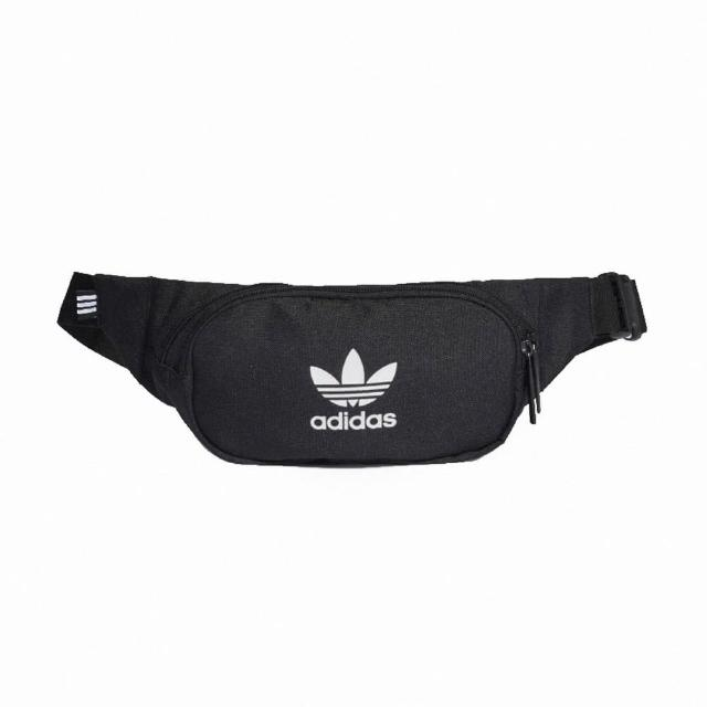 【adidas 愛迪達】腰包 Essential Crossbody Bag 愛迪達 三葉草 斜挎包 穿搭 輕便 外出 黑 白(DV2400)