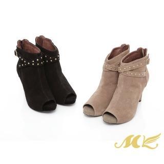 【MK】時尚女神系列-MIT羊絨麂皮質感鉚釘細高跟踝靴魚口靴-黑色/駝色(兩色)