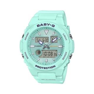 【CASIO 卡西歐】CASIO BABY-G 運動雙顯女錶 潮汐圖 EL照明 防水100米(BAX-100-3A)