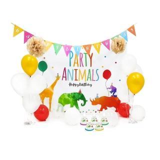 【PartyPack派對懶人包】水彩點點動物生日派對懶人包5件組(生日派對/週歲派對佈置)