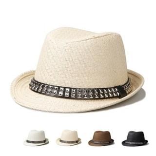 【米蘭精品】爵士帽禮帽(鉚釘草編復古情人節生日禮物男女帽子4色71k89)