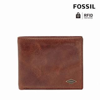 【FOSSIL】Ryan 咖啡色真皮RFID實用皮夾 男ML3729201