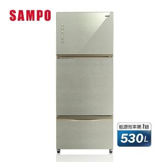 【SAMPO 聲寶】★好禮五選一★530公升一級能效經典玻璃系列變頻三門冰箱(SR-A53GDV-Y5)