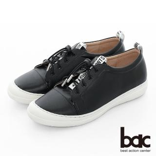 【bac】週末輕旅行 - 標語織帶彈力鞋帶防踢頭平底休閒鞋(黑色)