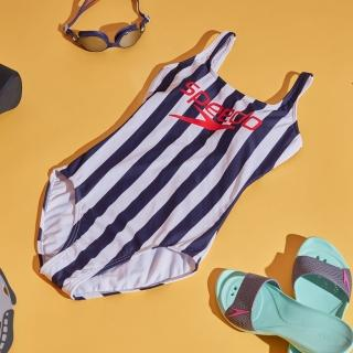 【SPEEDO】女 Ice Cream 運動連身泳裝(海軍藍條紋)