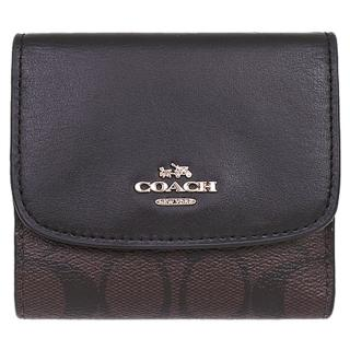 【COACH】深咖啡三折式PVC零錢袋短夾