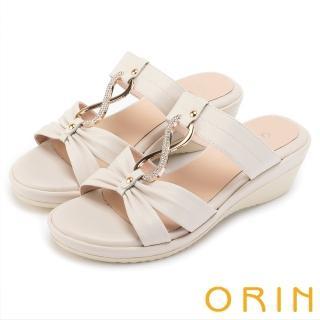 【ORIN】迷人耀眼 真皮8字鑽練造型楔型拖鞋(白色)