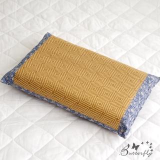 【BUTTERFLY】台灣製造-天然健康亞藤織面淹水石枕頭一入-藍