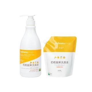 【mammyshop 媽咪小站】奶瓶蔬果洗潔液(1罐+1包)