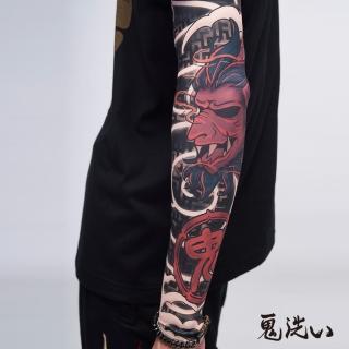 【BLUE WAY】日式花紋側鬼頭雙邊袖套 - 鬼洗