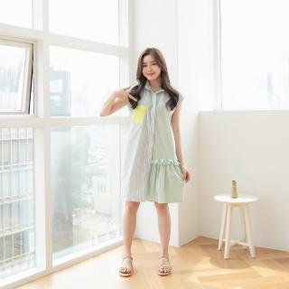 【sasa bella 莎莎貝拉】拼接口袋清新風洋裝