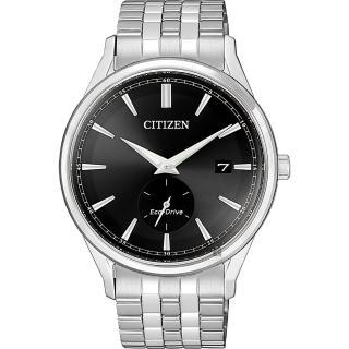 【CITIZEN 星辰】光動能小秒針手錶-黑x銀/40mm(BV1119-81E)
