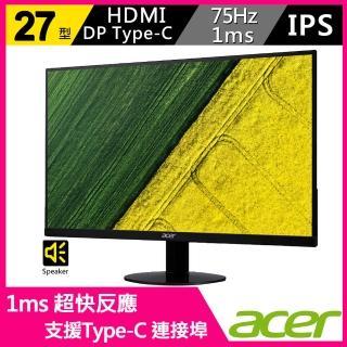 【Acer 宏碁】SA270 B 27型 IPS 超薄窄邊框螢幕