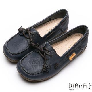 【DIANA】漫步雲端厚切焦糖美人—真皮美式綁帶莫卡辛休閒鞋(深藍)