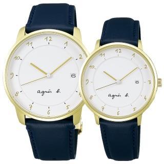 【agnes b.】法式手繪風格對錶-藍x金(VJ42-KZ30B/VJ12-KY40B)