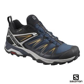 【salomon】低筒登山鞋 GORETEX 防水 男 X ULTRA 3(海藍/深寶石藍/煤煙核)