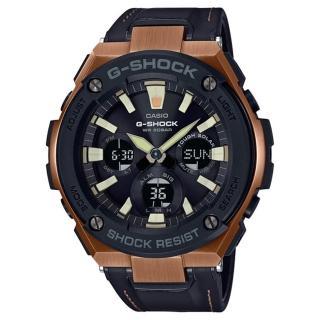 【CASIO 卡西歐】G-SHOCK 太陽能耐衝擊強悍多功能雙顯運動錶-古銅色/52.4mm(GST-S120L-1A)