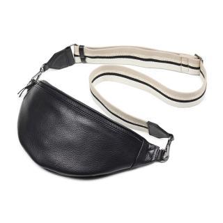 【MARKBERG】Elinor 丹麥手工牛皮時尚艾利諾寬帶腰包 胸包 斜背包(極簡黑)
