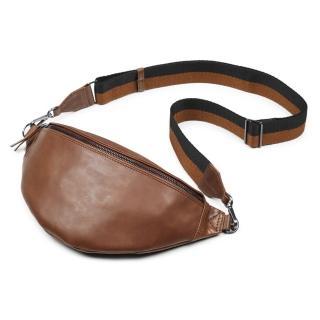 【MARKBERG】Elinor 丹麥手工牛皮時尚艾利諾寬帶腰包 胸包 斜背包(古栗棕)