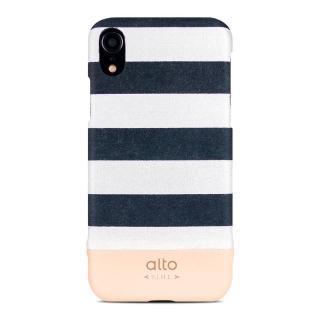 【alto 奧沰】iPhone XR 6.1吋皮革保護殼 Denim – 白條紋(iPhone 保護殼)