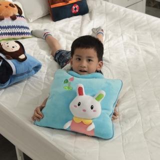 【Leafbaby】卡哇伊立體四季兩用手提抱枕被(白兔莉莉)