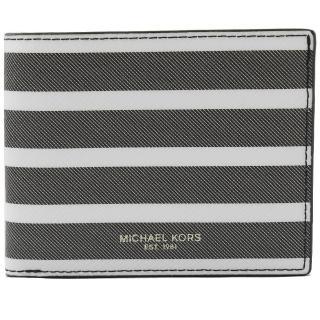 【Michael Kors】KENT 經典條紋六卡雙折短夾(黑白)