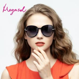 【MEGASOL】UV400防眩偏光太陽眼鏡 女仕大框矩方框墨鏡(細緻大框神奇魔杖鏡架1942-5色選)