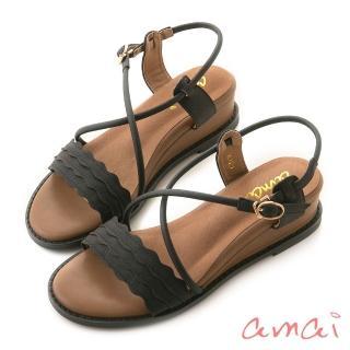 【amai】浪漫花邊一字坡跟繞踝涼鞋(黑)