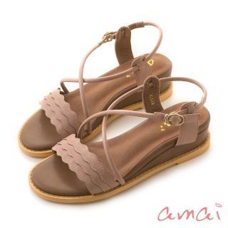 【amai】浪漫花邊一字坡跟繞踝涼鞋(粉)