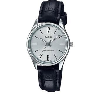 【CASIO 卡西歐】經典淑女時裝時尚指針真皮腕錶-數字銀面(LTP-V005L-7B)