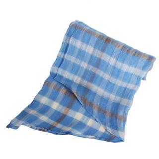 【DAKS】經典大格紋領巾/圍巾(藍&白格紋)