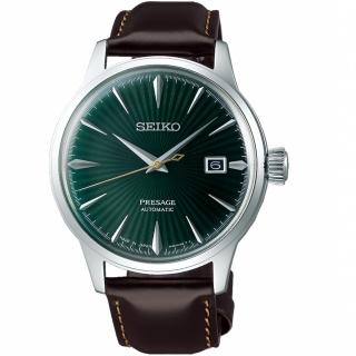 【SEIKO 精工】Presage調酒師41小時動力儲存機械錶(4R35-01T0M SRPD37J1 綠)