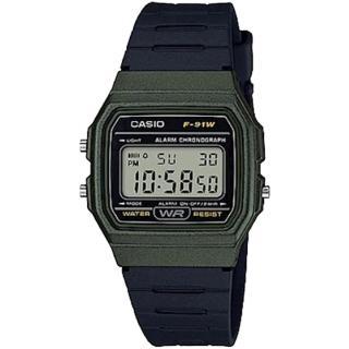 【CASIO 卡西歐】經典復古方形時尚數位錶(F-91WM-3ADF)
