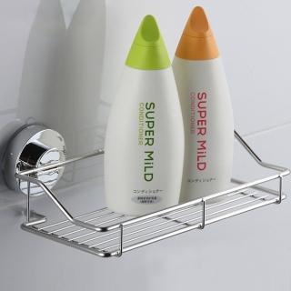 【幸福揚邑】旋鎖式吸盤不鏽鋼廚房浴室方型收納置物架
