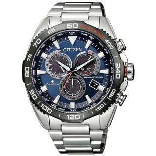 【CITIZEN 星辰】光動能 廣告款極速風暴電波計時男錶-藍/44.6mm(CB5034-82L)