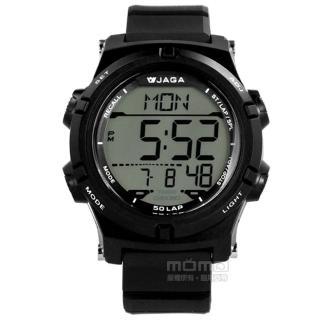【JAGA 捷卡】電子運動 倒數計時 計時碼錶 鬧鈴 日常生活防水 橡膠手錶 黑色 47mm(M1192-A)
