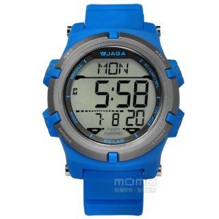 【JAGA 捷卡】電子運動 倒數計時 計時碼錶 鬧鈴 日常生活防水 橡膠手錶 藍色 47mm(M1192-E)