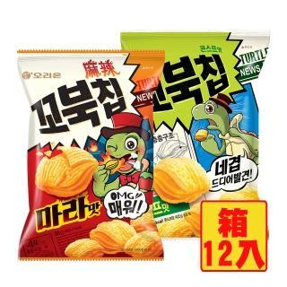 【好麗友】烏龜玉米脆片80gx12包(玉米濃湯/麻辣任選)