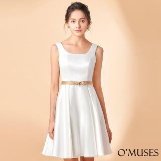 【OMUSES】簡約壓褶A-Line裙襬短禮服18-1920(S-2L)