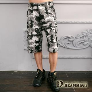 【Dreamming】街頭潑畫迷彩休閒側袋工作短褲(灰白)