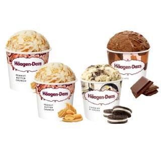 【哈根達斯-冷凍宅配】濃郁香脆花生醬品脫4入組(花生醬2巧克力2淇淋巧酥1)
