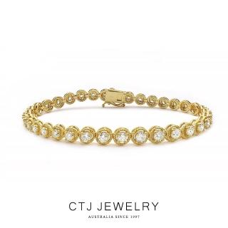 【CTJ】閃耀4克拉滿鑽18K金鑽石手鍊
