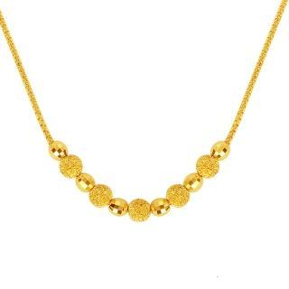 【迎鶴金品】黃金9999時尚時尚鑽砂珠項鍊(2.16錢)
